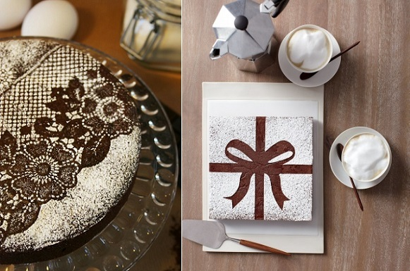 chocolate cake decorating lace over chocolate cake left via Tumblr and chocolate bow stencil right via Martha Stewart Living