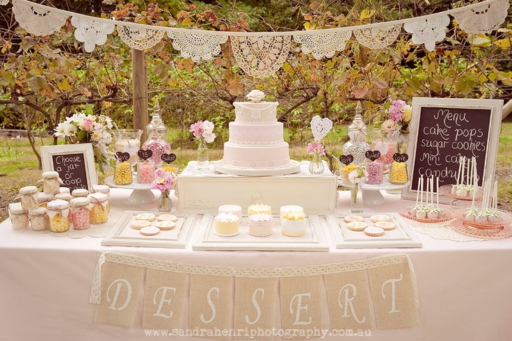 Sweet table styling cake geek magazine doile bunting lace bunting sweet table via princess allure australia junglespirit Image collections