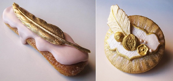 luxury wedding cookies with gold feather motif by Connie Cupcake Luxury Cakes
