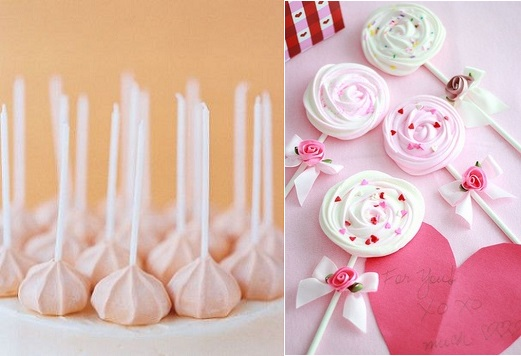 meringue pops from Martha Stewart Wedding left and from The Cake Lady right