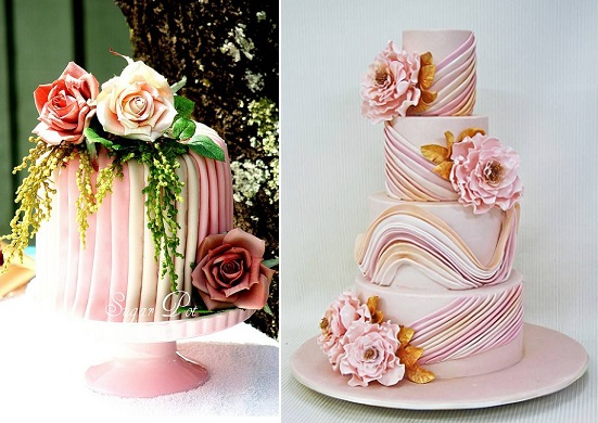 pleated cake designs by the Sugar Pot left and via Pinterest right
