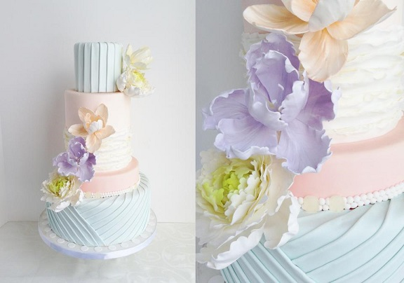 pleated wedding cake design in blue pink and lilac pastels by The Cake Whisperer