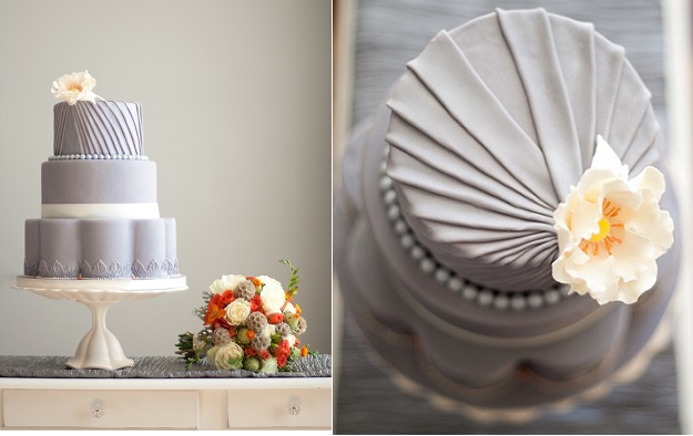 pleated wedding cake in grey by Sweet on You Cakes Canada