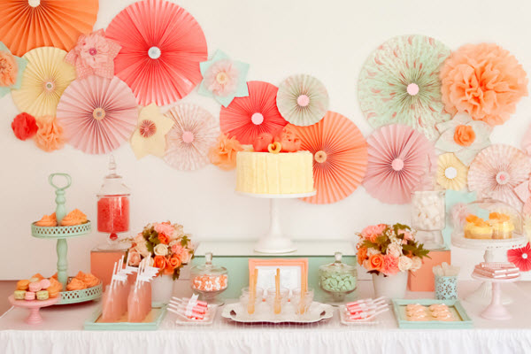 sweet table decor paper fans via Amy Atlas