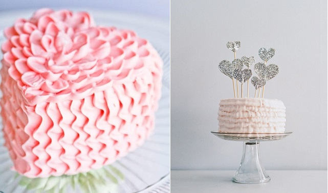 valentines cake buttercream ruffles heart shaped by Sweet Escapes Cakes. left and valentines heart cake topper by Paper Pony right