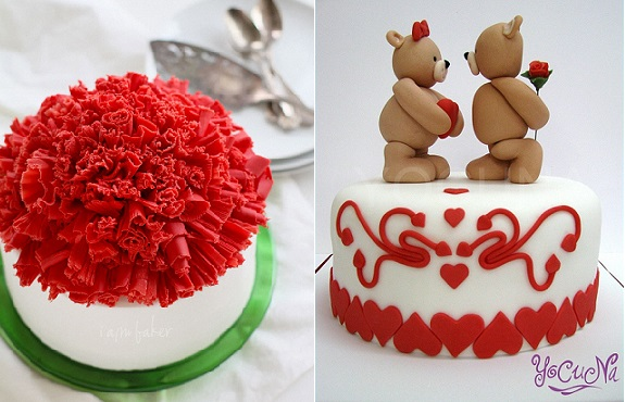 valentines cake chocolate ruffle cake from I Am Baker and valentines cake with teddy bears from YoCoNa