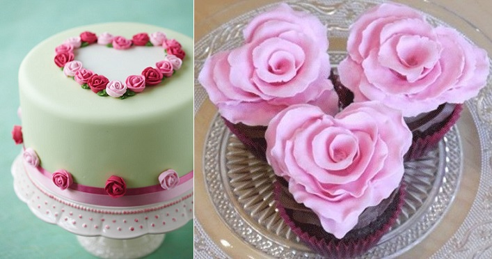 valentines cake from taarten-decoreren.com left and valentines rose cupcakes from Cake Journal right