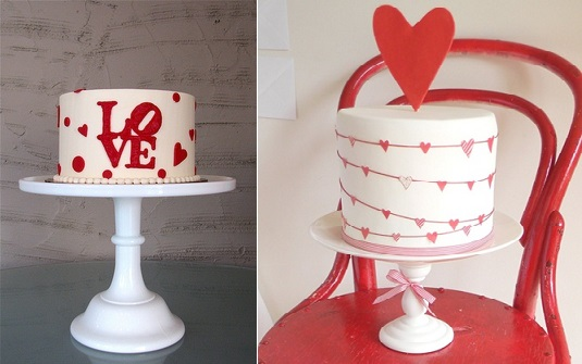 valentines cakes by the Whipped  Bakeshop left and from Just Call Me Martha right