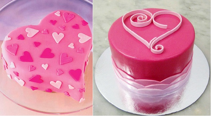 valentines cakes via BettyBakery.com right and via Pinterest left