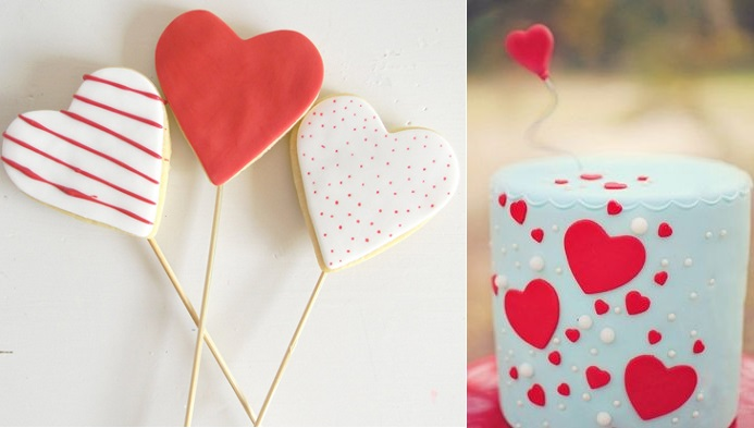 valentines cookies from Call Me Martha left and valentines cake via partz.co right