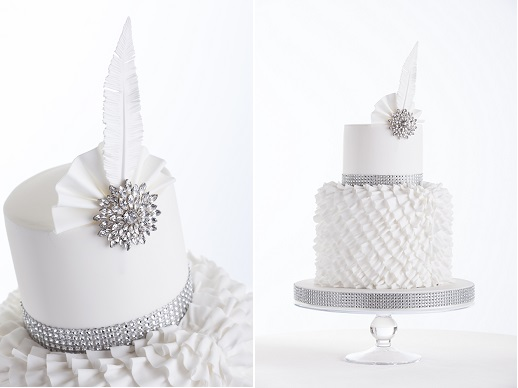 vintage feather wedding cake Gatsby theme with art deco design by Cake Couture Northern Ireland, Chris Semple Photography