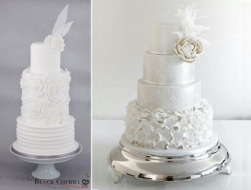 vintage feather wedding cakes by Black Cherry Cake Co left and via Pinterest right