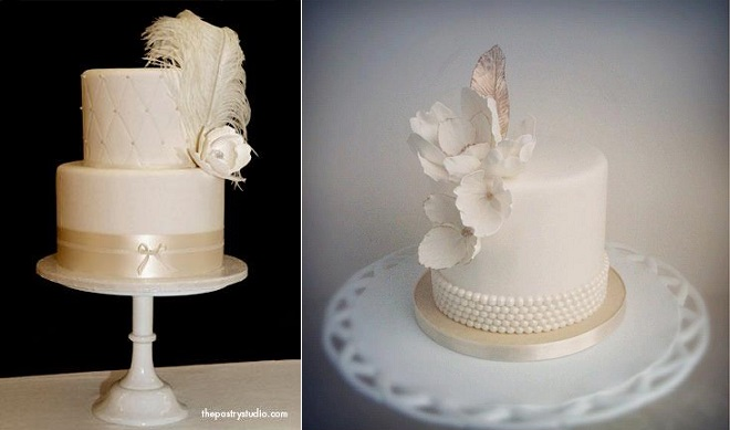 vintage feather wedding cakes by The Pastry Studio left and The Cake Whisperer right