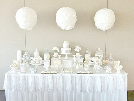 white sweet table wedding dessert table by Sugar Coated Mama via Kara's Party Ideas