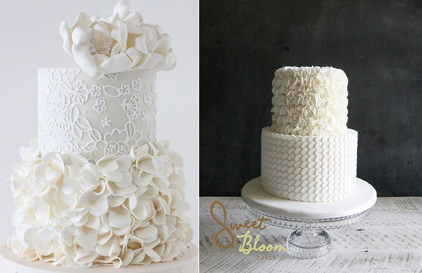 Petal ruffle cakes by Sharon Wee Creations left and by Sweet Bloom Cakes right