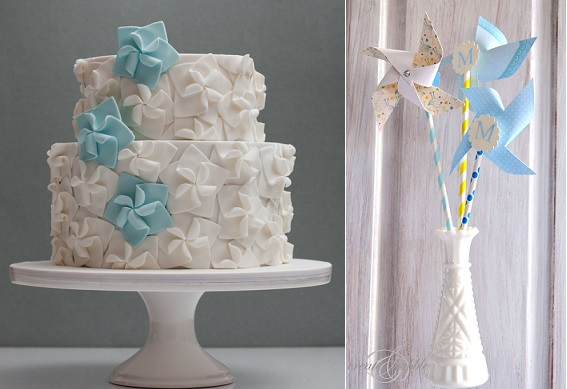 Pinwheel cake by Rouvelee's Creations left and pinwheel party decorations right via Pinterest