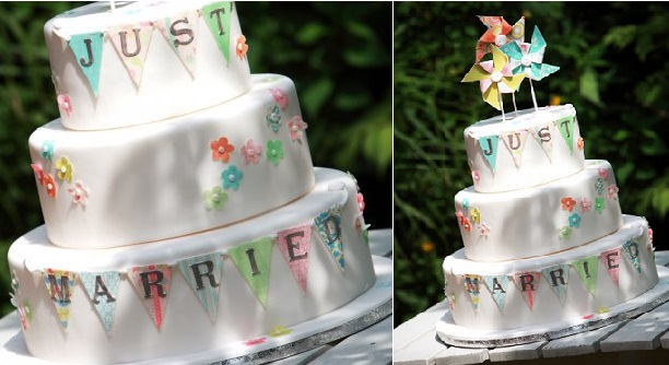 Pinwheel wedding cake with bunting by Betty's Sugar Dreams