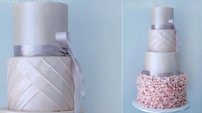 Pleated cake design with ruffles in pink and grey by Blissfully Sweet Cakes