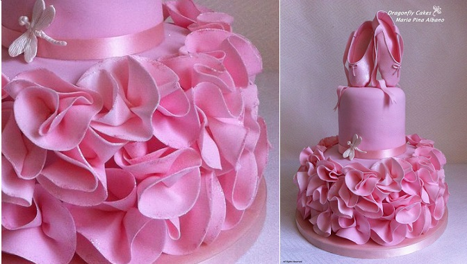 ballerina cake with ballet shoes by Dragonfly Cakes