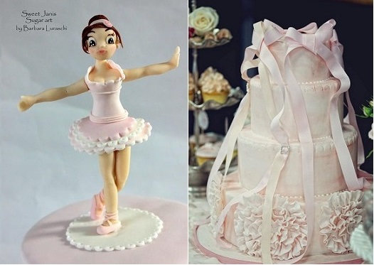 ballerina cakes by Sweet Janis Sugar Art left and by Sweet Bloom Cakes via TomKat Studio right