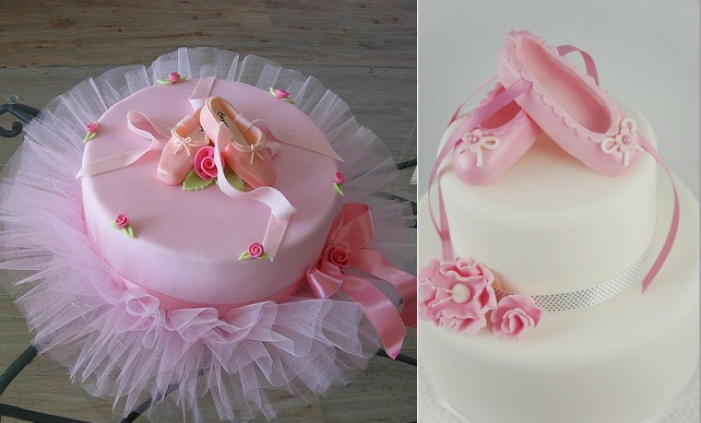 ballet cakes by Bubolinkata left and by Two Little Figs, Sydney right