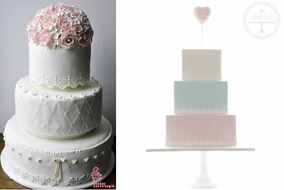 broderie anglaise wedding cake eyelet lace cake by Cookie Cornocupia left and by Sweet Love right