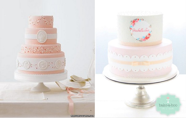 broderie anglasie cakes eyelet lace cakes via Martha Stewart Weddigns left and by Bake-A-Boo New Zealand right