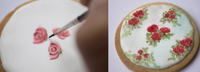 cake painting tutorial on cookies by Lemon Tree Cakes