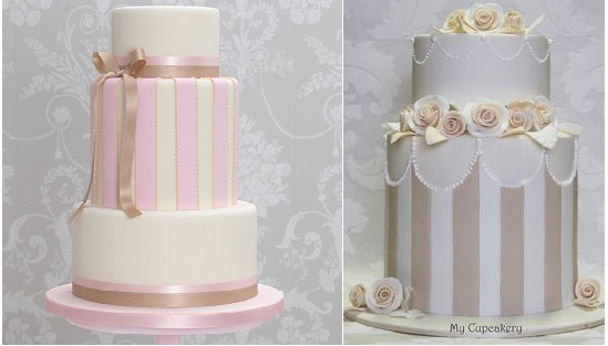 cakes with stripes by The Cake Parlour left and by My Cupcakery right