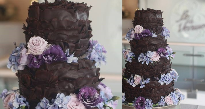 chocolate ruffles wedding cake dark chocolate wedding cake by Kanya Hunt