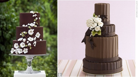 chocolate wedding cakes with flowers by Ana Parzych left and via The Knot right, image Antonis Achilleos