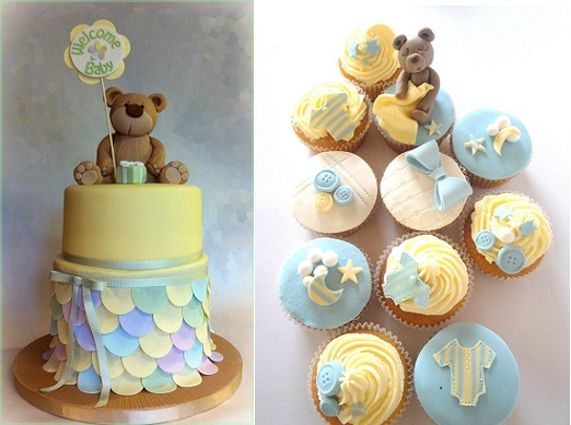 christening cake by Dream Cakes by Robyn left and christening cupcakes by Magical Cakes New Zealand right