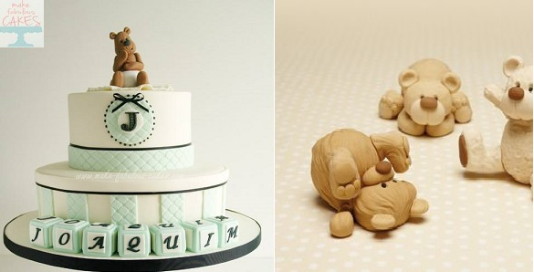 christening cake by Make Fabulous Cakes left and tumbling teddies by Debbie Brown