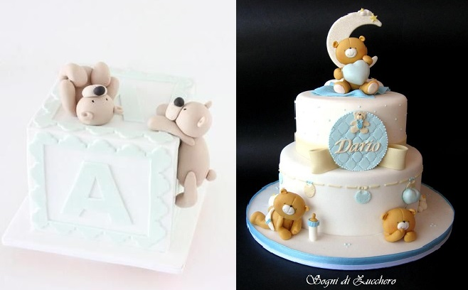 christening cake for a boy baby cakes with teddies by Sharon Wee left and by Sogni di Zucchero right
