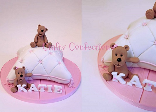 christening cake with teddies for girl by Crafty Confections Ireland