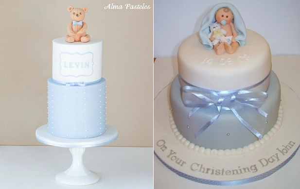 christening cakes for a boy naming da cakes by Alma Pasteles left and by Fiona Morrison Cake Craft right