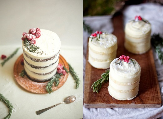 crumb coated cakes cranberry dessert cake left and lemon mousse cake right, images via Pinterest