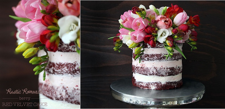 Crumb Coated Naked Cake By Style Sweet CA Rustic Romance Berry Red