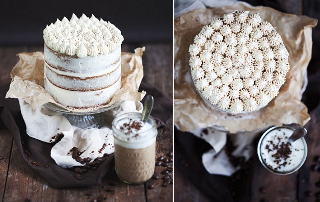 crumb coated naked cake by Tortchenzeit expresso and white chocolate cake