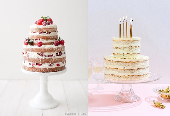 crumb coated naked cakes by matchbox kitchen.com left and via Lover.ly right