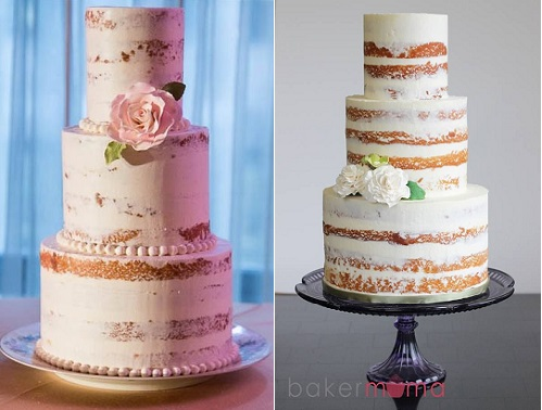 crumb coated naked wedding cakes by Baker Mama right and via Indulgy.com