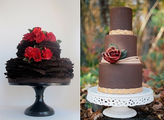 dark chocolate ruffle wedding cake by Maggie Austin left and milk chocolate and gold wedding cake with red rose by Wild Orchid right