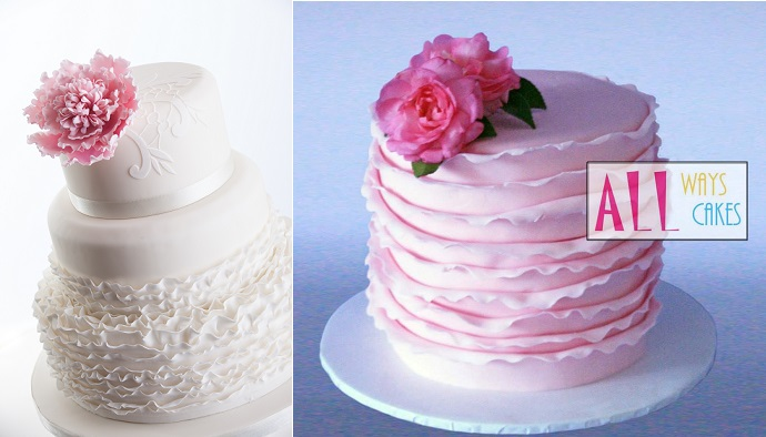 fondant frill wedding cake by Cake Couture NI, image by Chris Semple Photography left and pink cake by by All Ways Cake right