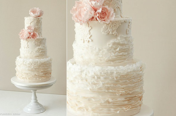 fondant frill wedding cake ruffles and vintage lace by Pasteles Alma via Cake Central