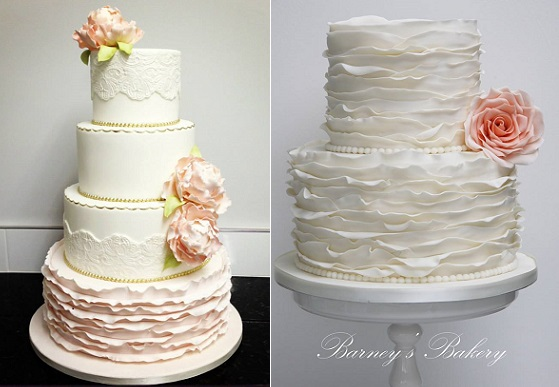fondant frill wedding cakes with ruffles by Luisa Galuppo left and Barney's Bakery UK right