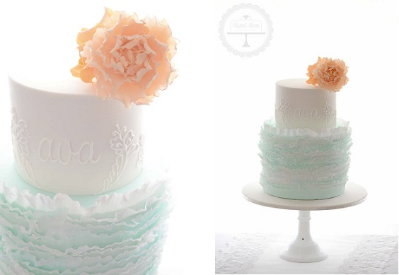 fondant frills cake ruffles peach and aqua by Sweet Love Cake Design