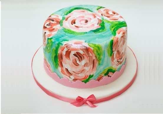 hand painted cake Monet Waterlilies by Lulu Cake Boutique