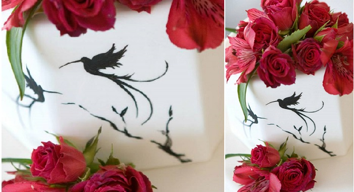 hand painted cake bird design by The Butterend Cakery