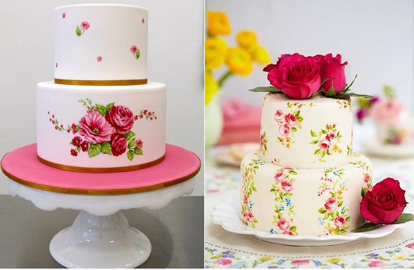 hand painted cake by Handi's Cakes left and ditsy rose cake by Nevie Pie