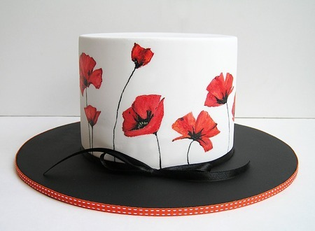 hand painted cake with red poppies by Sweet Disposition Cakes